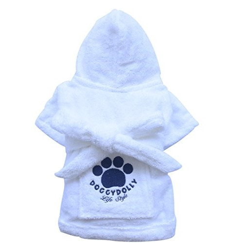 Accappatoio per cani Robe White Doggy Dolly - Taglia S