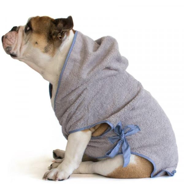 """Accappatoio per Bulldog Inglese """"Marylin"""" Grigio"""