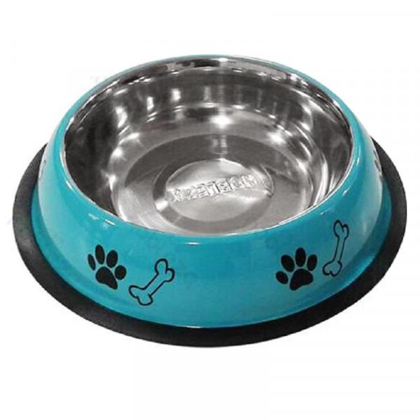 Ciotola per cani London in acciaio azzurra - Nobleza