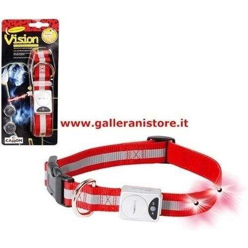 Collare Flashing S cm 30/40-15mm luminoso LED ROSSI - CAMON