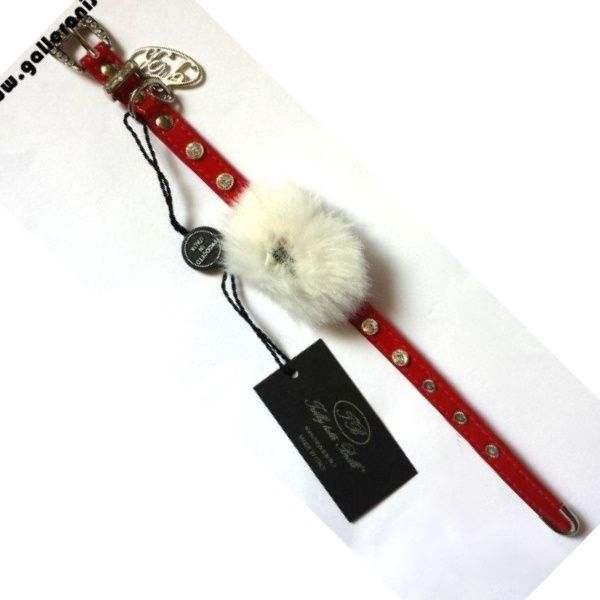 Collare NATALE Mod 1 ecopelle rosso c/Swarovsky- Trilly tutti Brilli