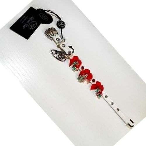 Collare ecopelle Bianco con fiocchi e Swarovsky rossi Trilly tutti Brilli