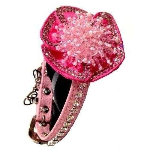 Collare BRUXELLES ecopelle rosa con cristalli - Trilly tutti Brilli