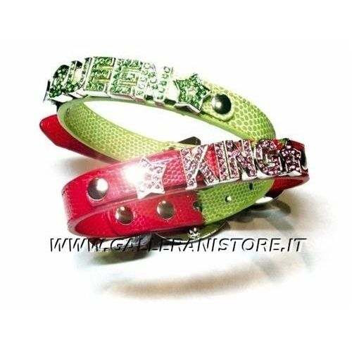 Collare similpelle per cani QUEEN / KING con Strass