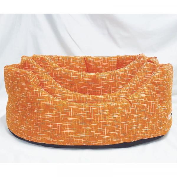 Cuccia per cani ovale Linea Eco, colore arancione - Nasonero