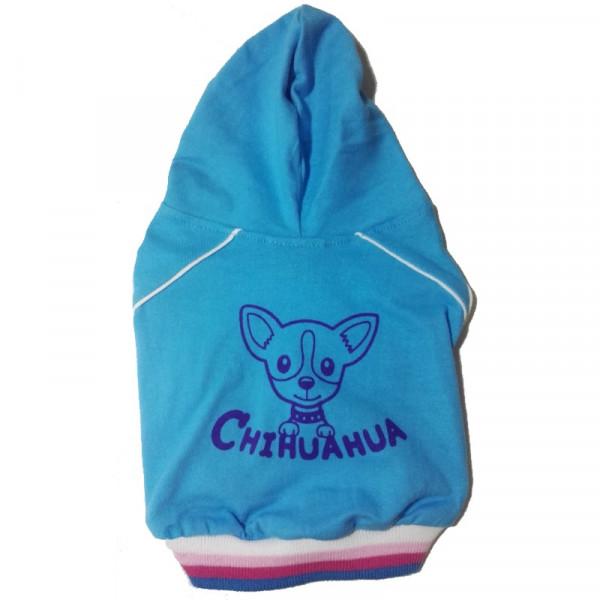 Felpa per cani Chihuahua Azzurra