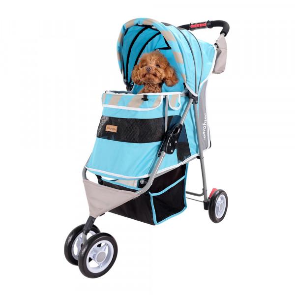 "Passeggino per cani ""Stripes"", colore Ocean Blue - Ibiyaya"