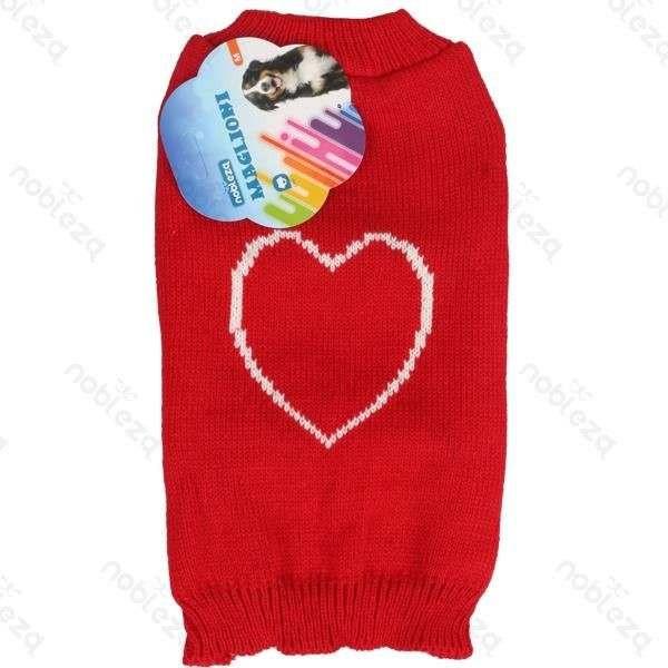 Maglioncino con cuore rosso per cani