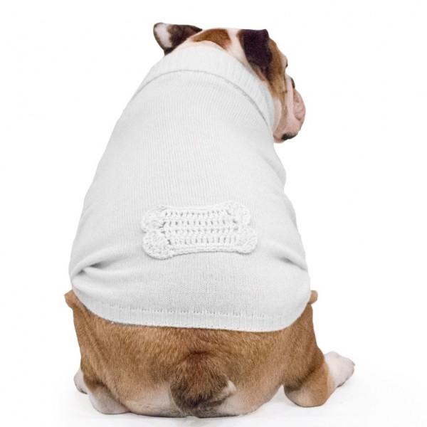 """Maglione per Bulldog Inglese """"Sole"""" bianco a uncinetto"""