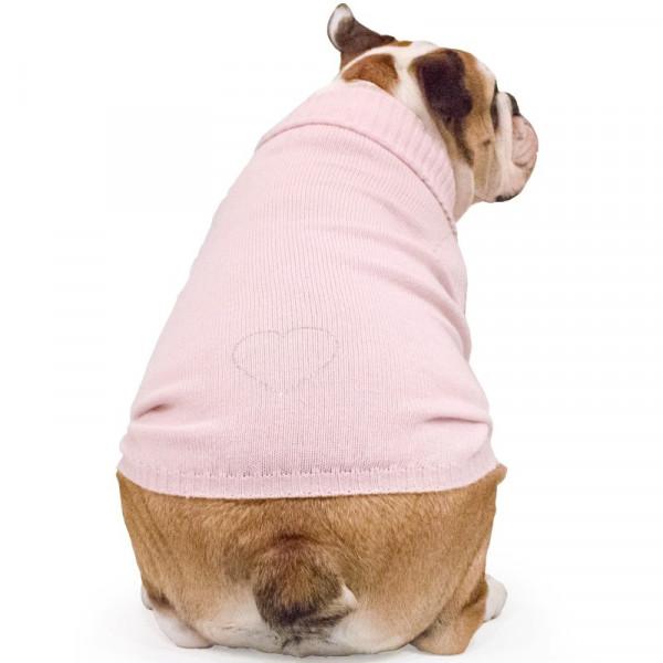 """Maglione per Bulldog Inglese  """"Sole"""" rosa con Swarovski"""
