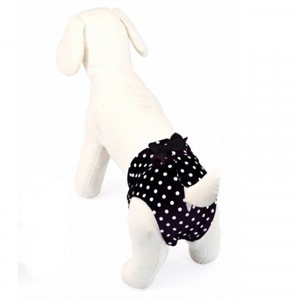 Mutandina per cani in cotone elasticizzato, Nera a pois - Camon