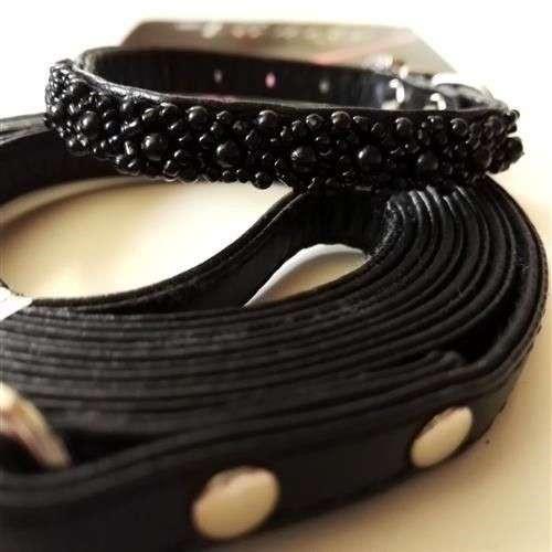 Parure XS Vanity Pearls Nero collare e guinzaglio per cani - Croci