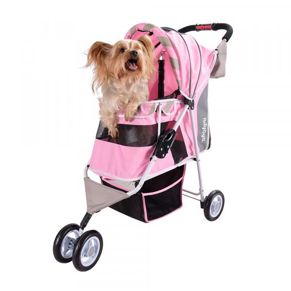 "Passeggino per cani ""Stripes"", colore Sugar Pink - Ibiyaya"