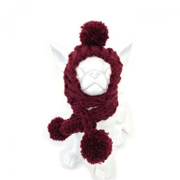 Roger bordeaux cuffia e sciarpa di lana ai ferri - Collezione Trilly tutti Brilli