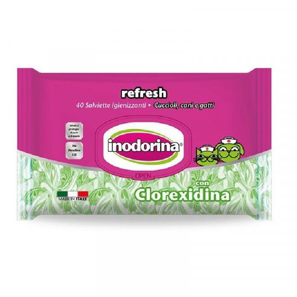 Salviette per cani e gatti detergenti con Clorexidina - Inodorina Refresh