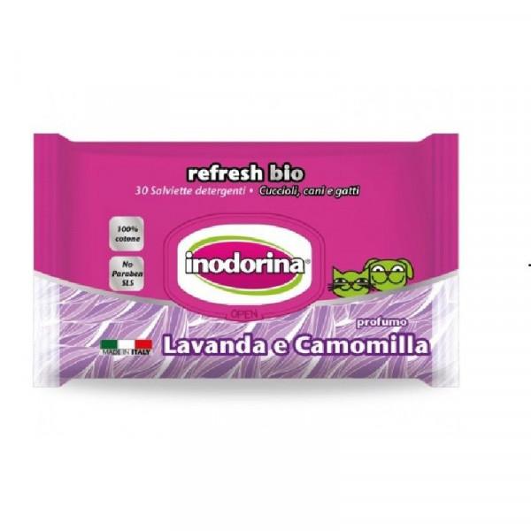 Salviette per cani e gatti detergenti con Lavanda e Camomilla - Inodorina BIO