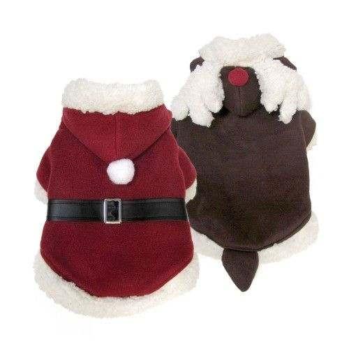 Vestito da Babbo Natale reversibile in Renna per cani - FouFouDog