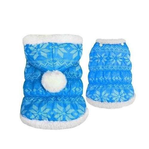 Giacca Piumino Blu imbottito Fiocco di Neve per cani - Pretty Pet
