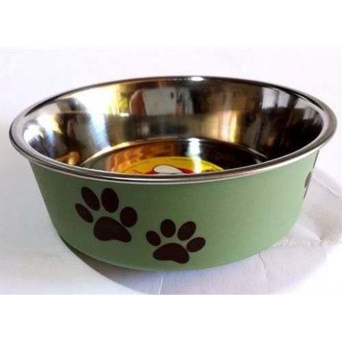 Ciotola metallo verde con gomma - Fuss-Dog