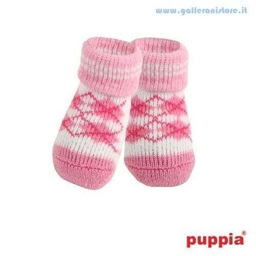 Calzine Antiscivolo Argyle Pink per cani - PUPPIA