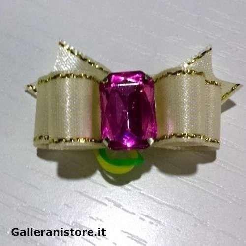 Fiocchetto per cani - Bianco e pietra Rosa c/elastico