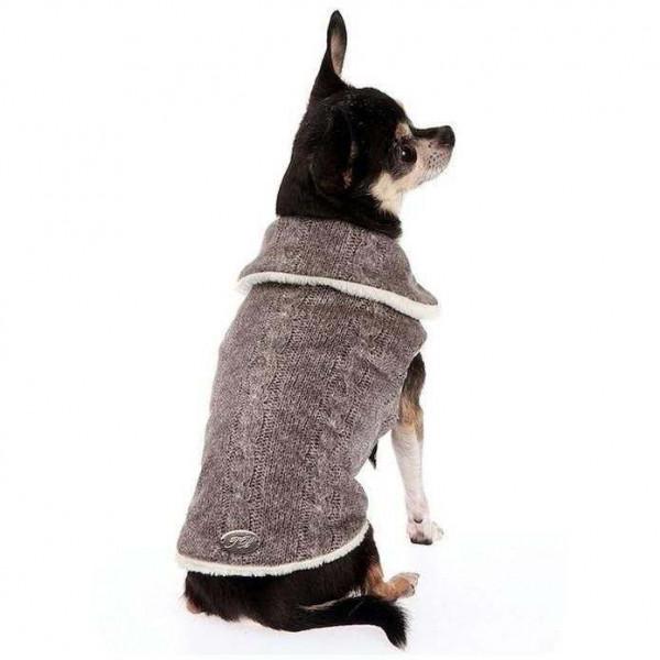 Cappotto Microfibra e Ecopelliccia effetto Lana Grigio per cani - Trilly tutti Brilli