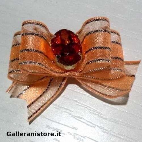 Fiocchetto per cani - Rosa e pietra Gialla c/elastico