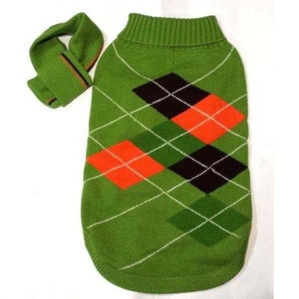 Maglione a rombi con sciarpa per cani - CM 47 - FouFouDog