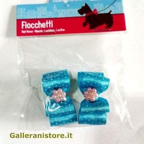 Fiocchetti azzurri pois perline per cani - Farm Company