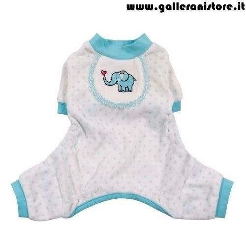 Pigiama elefantino azzurro ciniglia per cani - Pooch Outfitters Peppermint