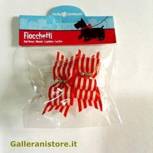 Fiocchetti rosso righe per cani - Farm Company