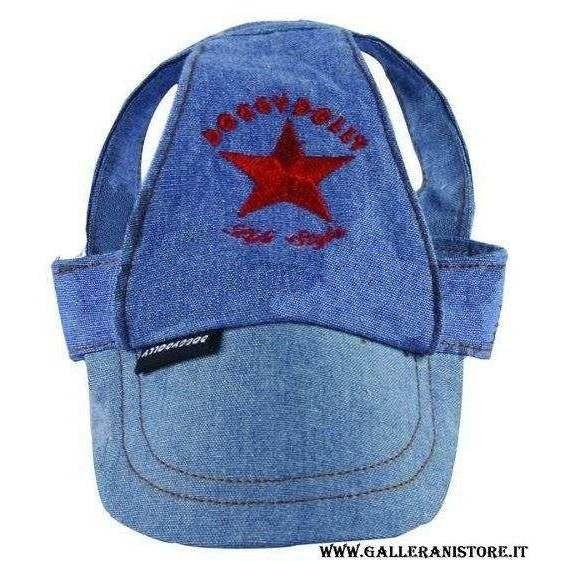 Cappellino in Jeans per cani con visiera Misura M