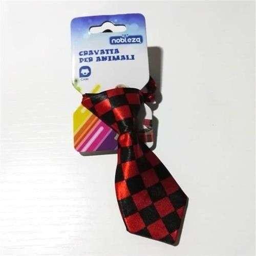 Cravatta per cani scacchi nero rosso - Nobleza