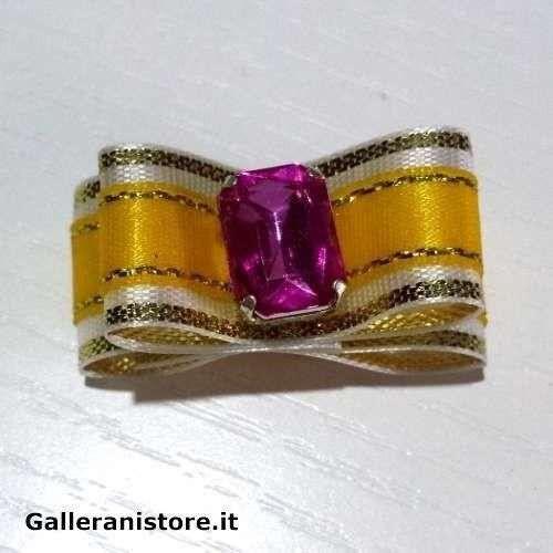 Fiocchetto per cani - Giallo e pietra Rosa c/elastico