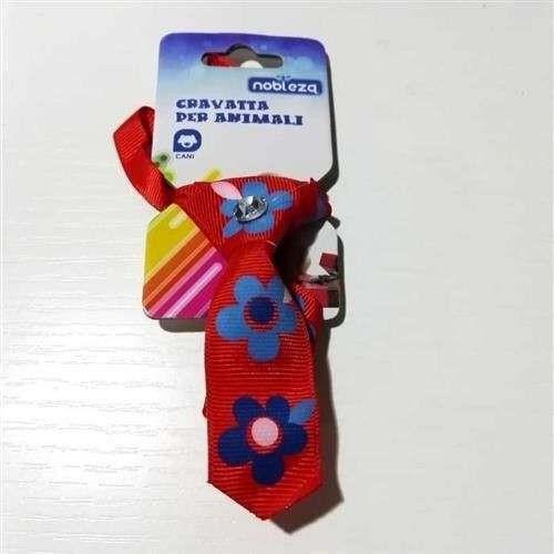 Mini Cravattina Rossa fantasia fiore per cani - Nobleza