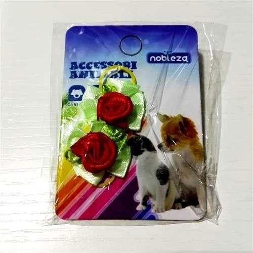 Fiocchetti c/elastico per cani verdino con rosa rossa - Nobleza