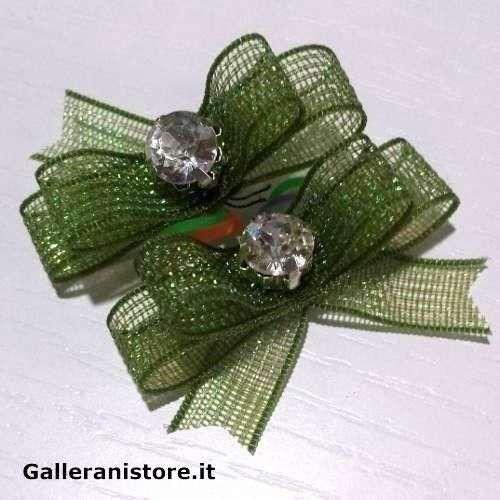 Fiocchetti per cani - Verde e pietra Bianca c/elastico
