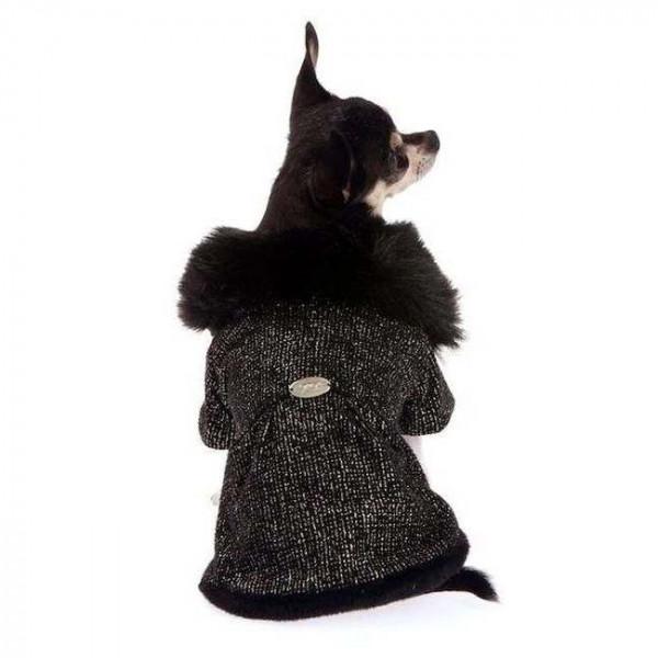 Cappotto Lame/Ecopelliccia Nero per cani - Trilly tutti Brilli
