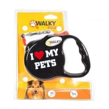 Guinzaglio estensibile WALKY MY PETS 3mt (per cani fino a 8kg) Nero