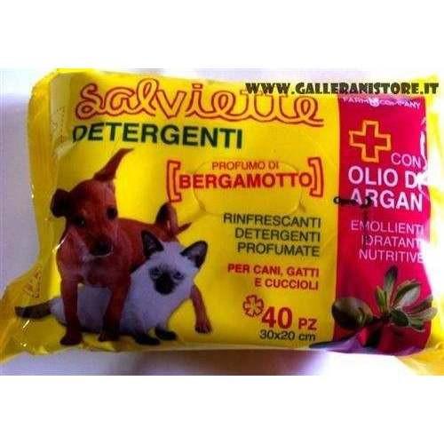 Maxi Salviette OLIO di ARGAN e Bergamotto 40 pz per cani