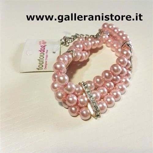 Collana Bijoux perle Pink tre file per cani - FouFouDog