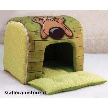 Tunnel casetta Verde design fumetto per cani - Nasonero