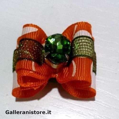 Fiocchetto per cani - Arancione e pietra Verde c/elastico