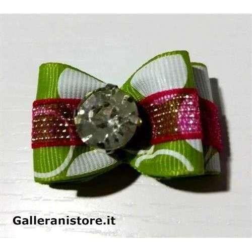 Fiocchetto per cani - Verde e pietra bianca c/elastico