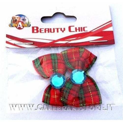 Fiocchetti scozzese con pietra blu c/elastici per cani
