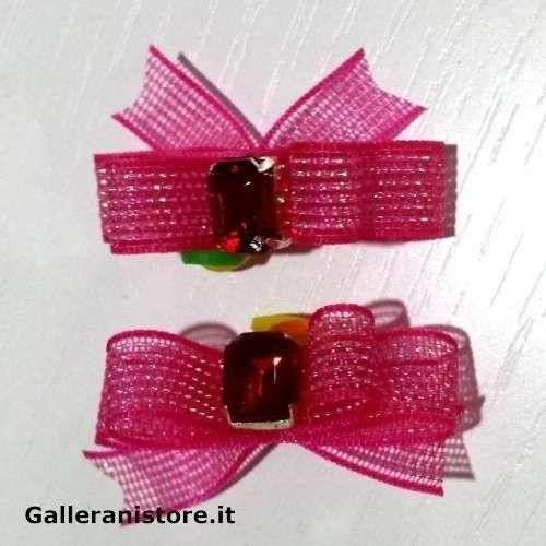 Fiocchetti per cani - Rosa oro e pietra Rossa c/elastico