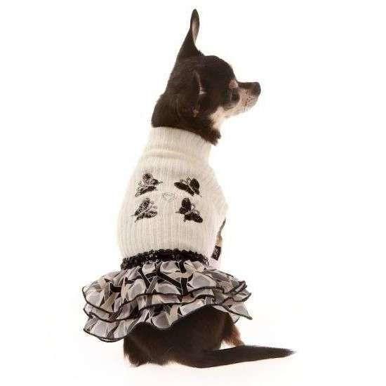 Abitino lana/balze applicazione farfalle per cani - Trilly tutti Brilli