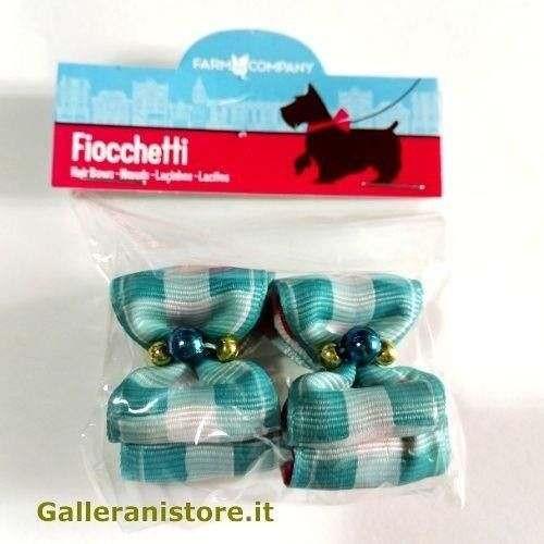 Fiocchetti con perline azzurro per cani - Farm Company