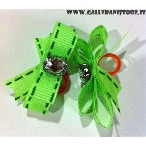 Fiocchetti per cani - Verde e pietra bianca con elastici