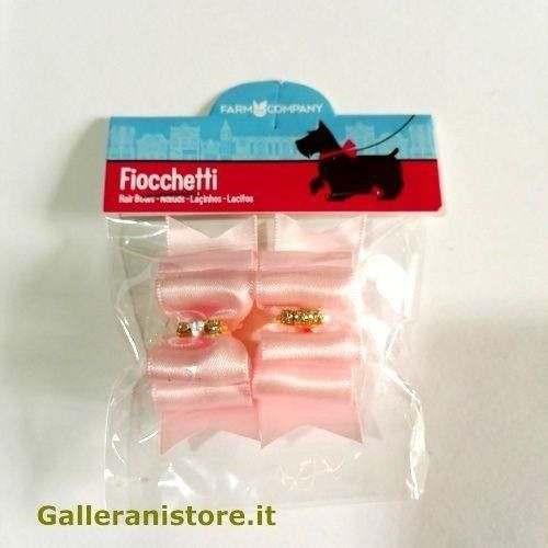 Fiocchetti Rosa con strass centrali per cani - Farm Company